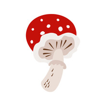 Amanita With A Red Cap, Large. Vector Illustration Isolated On White Background. For Poster, Applique, Pins, Greeting Card, Invitation, Flyer, Cover, Sticker, Textile And Other Graphic Design.