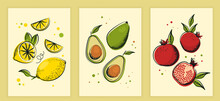 Collection Of Contemporary Art. Abstract Posters With Fruits, Lines And Dots. Design Elements For Decorating Grocery Stores Or Cafes. Cartoon Modern Flat Vector Set Isolated On White Background