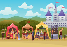 Cartoon Medieval Fair. Middle Ages Or Fairy Tale Fair Market With Characters Standing In Costumes. Sell Various Products