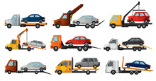 Collection Of Tow Trucks. Flat Faulty Car Loaded On A Tow Truck. Vehicle Repair Service Which Provides Assistance Damaged Or Salvaged Cars