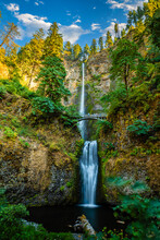 Multnomah Falls Is A Waterfall Located On Multnomah Creek In The Columbia River Gorge, East Of Troutdale, Between Corbett And Dodson, Oregon, United States.