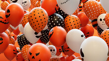 Colourful Party Balloons With Fun Halloween Designs.