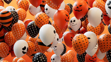 Balloons With Halloween Themed Designs, In Orange, Black And White.