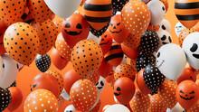 Orange, Black And White Balloons, With A Fun Halloween Theme.