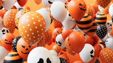 Halloween Celebration Concept With Colourful Balloons.