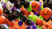 Halloween Balloons In Orange, Black, Green And Purple, With Fun Patterns.