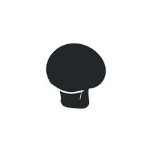 Agaricus Mushroom Icon Silhouette Illustration. Champignon Vector Graphic Pictogram Symbol Clip Art. Doodle Sketch Black Sign.