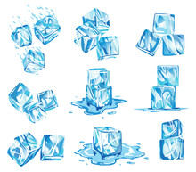 Collection Of Water Ice Cube Icons. Frozen Water Particles. Set Of Translucent Ice Cubes In Blue Colors. Realistic Blue Solid Water