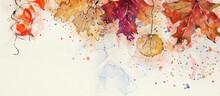 Autumn Watercolor Background. Design Element.