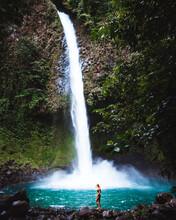 Vertical Shot Of A La Fortuna Waterfall Alajuela Costa Rica