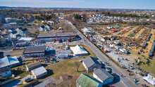 Aerial View Of An Amish Mud Sale In Lancaster Pennsylvania On A Beautiful Cloudless Day