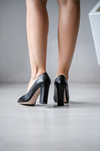 Women's High-heeled Shoes. Blue Women's Shoes, Silver Shoes, And Black Fringed Leather Shoes.