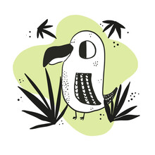 Cute Sketch Hand Drawn Black And White Color Toucan Illustration. Bright Cartoon Childish Funny Bird For Kids Print Design, Textile Decoration, Greeting Cards, Print, Stickers, Logo