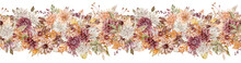 Watercolor Fall Flowers Border. Autumn Floral Header. Beautiful Seamless Border. Crimson, White And Orange Asters Pattern.