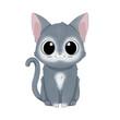 Ręcznie rysowany uroczy mały szary kotek. Ilustracja zadowolonego, siedzącego kota. Słodki, zabawny zwierzak. Obrazki dla dzieci.