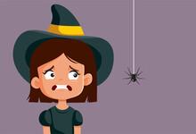 Scared Halloween Girl Looking At Spider Vector Cartoon