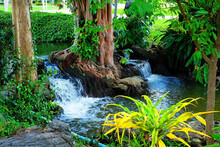 Little Waterfall Pouring Water Via Rocks And Tree Roots In A Golf Field 2