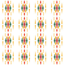 Abstract Graphic Seamless Of Yellow , Red And Green Color Diamonds Square Repeating And Duplicate .Vector Beautiful Pattern Design For Decorating , Fabric, Wrapping, Textile, Wallpaper, Apparel ,tile