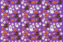 Halloween Pattern Flat Design With, Skull, Pumpkin, Witch Hat, Candy, And Eyeball