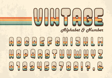 Retro Striped Alphabet Letter And Number In 70's Style. Seventies Nostalgic Typographic Design. Vintage Hippie Font Or Typeface For Title, Headline, Poster, Banner, Graphic Layout, Etc.