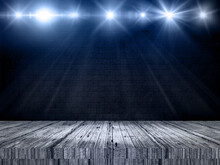 3D Display Background With Wooden Table Looking Out To Spotlit Wall