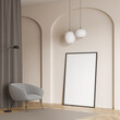 canvas print picture - Living room with single armchair and standing canvas in beige wall arch