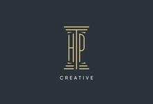HP Initial Monogram With Pillar Shape Logo Design