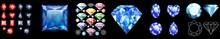 Diamonds Set, Posters Set For Jewelry Advertisement. Jewelry Gems Set Magic Stone With Sparkles For Mobile Game Design. Diamonds Set. Sparkling Diamonds Set Of Nine