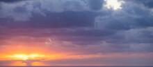 Natural Background, Stunning View Of A Dramatic, Cloudy Sunrise. Romantic Sky, Copy Space, Sky Replacement, Sardinia, Italy.