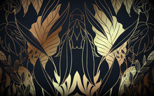 Abstract Luxury Vintage Gold And Black Floral Pattern Background. Vector Illustration