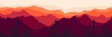 Modern Bridge Silhouette At Mountain Landscape Vector Illustration Good For Wallpaper, Backdrop, Banner, Background, Design Template, And Tourism Travel Poster