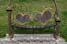 Wooden Bench With Backs In The Form Of Large Hearts