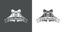 Logotipo Con Texto Feliz Navidad En Español En Cinta Con Campanas De Navidad Con Lineas En Fondo Gris Y Fondo Blanco
