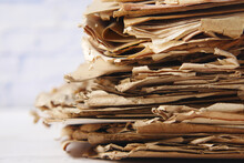 Stack Of Old Papers On Table