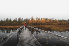 Man In A Red Jacket And A Grey Cap Walks On A Wooden Bridge, Looking Out Over The Lake And The Surrounding Woods In Autumn Colours. Kainuu Region, Finland