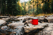 A Red Mug With Coffee Stands On A Stone Near A River In An Autumn Yellow Forest