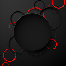 Abstract Black And Red Circles Background.