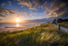 Sunset At The Beach Near The Village Of Zoutelande On The Coast Of The Province Zeeland