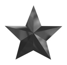 Black Silver Christmas Star Isolated On White Background.