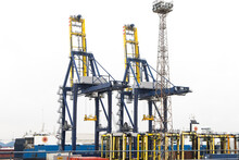 Cranes And Straddle Carriers At Dock