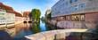 canvas print picture - Nuremberg, view from the museum bridge to the riverbank promenade of the Pegnitz.-Nürnberg, Blick von der Museumsbrücke auf die Uferpromenade der Pegnitz