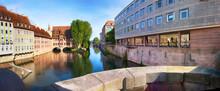 Nuremberg, View From The Museum Bridge To The Riverbank Promenade Of The Pegnitz.-Nürnberg, Blick Von Der Museumsbrücke Auf Die Uferpromenade Der Pegnitz