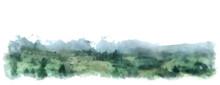Mountain Watercolor Vector Wide Illustration. Landscape Border Or Background