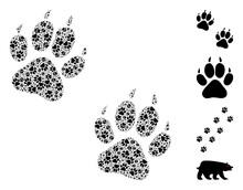 Vector Tiger Fingerprints Mosaic Is Done Of Random Fractal Tiger Fingerprints Icons. Fractal Combination Of Tiger Fingerprints.