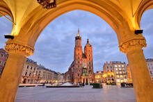 Old Town Square In Krakow, Poland.
