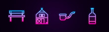 Set Line Bench, Farm House, Smoking Pipe And Beer Bottle. Glowing Neon Icon. Vector
