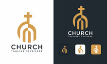 Luxury Church Building Logo And Icon Design Vector Template On A Dark Black And White Background.