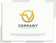 Modern Golden Letter V Initial Busines Logo