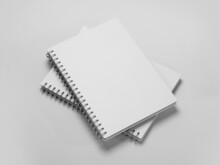 White Spiral Notebook Mockup, Blank Workbook Notepad Template, 3d Rendering Isolated On Light Background