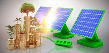 Solar Panels And Green Plant